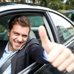 Car driver making ok sign